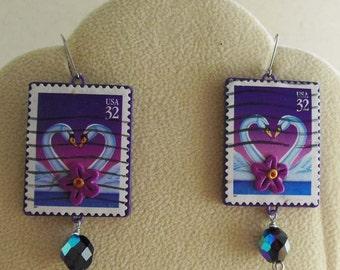 Swan earrings - Love postage stamps