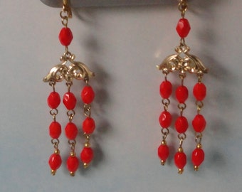 Gold tone with bright Red  faceted Czech Vintage Beads  Chandelier Earrings. Hand crafted.