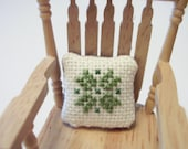 Counted Cross Stitched Quilt Block Dollhouse Pillow