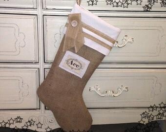 Burlap Christmas Stocking  with Custom Name Tag