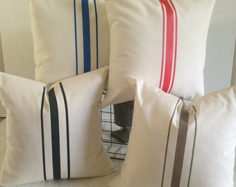 French Grainsack Canvas Pillows  Black / Red / Khaki / Royal Blue  Farmhouse pillow / Beachy Pillow / Nautical Pillow Cottage Chic Pillow