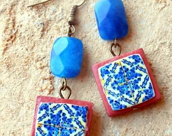 Portugal Blue Antique Azulejo Tile Replica  Earrings- TERRACOTTA - Reversible - Foto Lisboa, Ovar 1892
