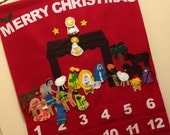 Nativity Felt Advent Calendar - Merry Christmas - Ready to ship