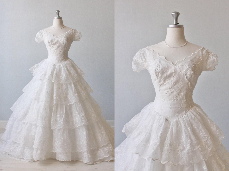 1950s Wedding Dress 50s Wedding Dress Ballgown Short