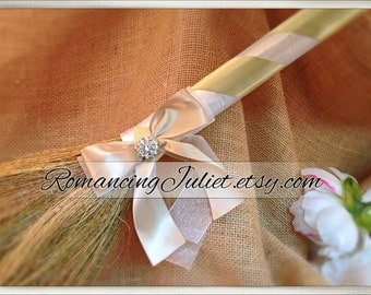 Classic Jump Broom Made in Your Custom Colors with Rhinestone Accent ..shown in white/sage green/champagne