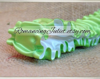 The Original Fully Reversible Bridal Garter..You Choose The Colors..shown in lime green/white