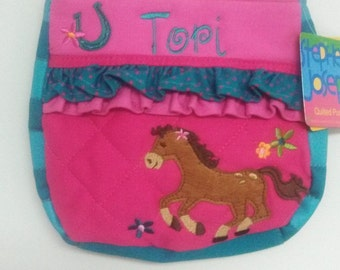 Personalized Stephen Joseph Horse Quilted Purse NEW