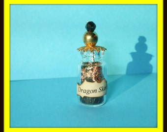 Gothic Witch Golden Dragon skin potion bottle dollhouse miniature