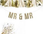 Wedding MR & MRS Wedding Glitter Garland. Reception Banner. Custom Wedding Banner