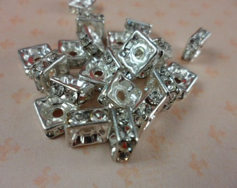 Czech Squaredell Beads Crystal Silver Plated 8mm 8 Pcs