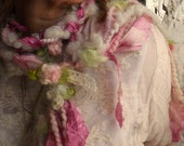 RESERVED - long scarf roses and lace enchanted forest fiber braid lariat - soft faerie rose cascade