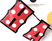 Mouse Themed HAPPY BIRTHDAY Banner - red and white polka dots on black