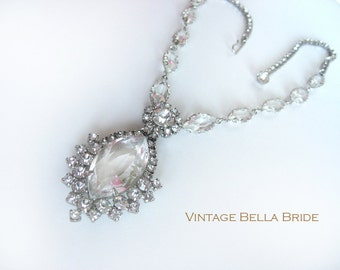 Vintage Rhinestone Crystal Drop Necklace Wedding Prom Special Occasion Mid Century