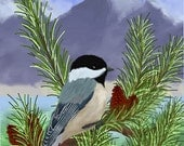 ACEO Orig  Digital Painting Chickadee
