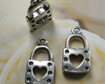 21x12mm- antique silver lock charms/pendant - 12 pcs (CM033)
