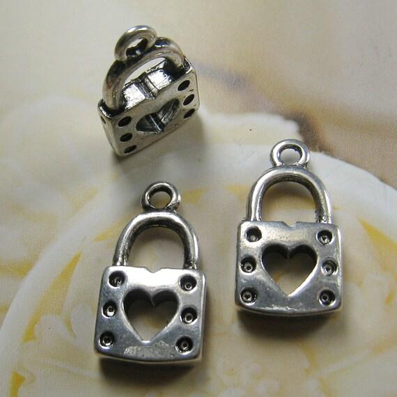 21x12mm- antique silver lock charms/pendant - 12 pcs (CM033)