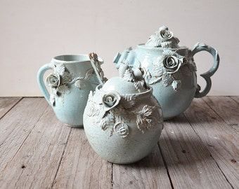 "Set ""Alice in wonderland"" Teapot, creamer, sugar bowl and little teaspoon- MADE TO ORDER -  Stoneware with roses in light blue glaze"