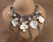 Button Jewelry - Mother of Pearl Buttons - Statement Necklace - Diamond, Heart, Club, Spade - Casino or Gambling Related