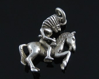 Charm, Sterling Silver, Native American, Indian, Riding Horse, Hachet, 925, Southwestern Silver Charm