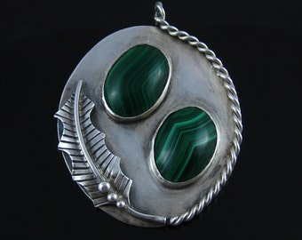 Large Vintage Sterling Silver Baskin Brothers Two Stone Malachite Pendant Hallmark BB