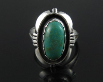 Ring, Size 5, Sterling Silver, Shadow Box, Vintage, Green Turquoise