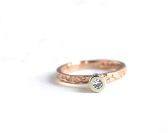 ethical diamond engagement ring . handmade 14k rose and white gold conflict free diamond ring . unique engagement ring . made to order