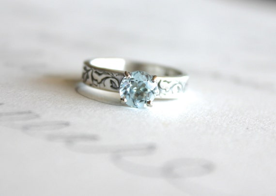 aquamarine engagement ring . engraved rustic vine gemstone ring . handcrafted sterling silver engagement ring by peacesofindigo