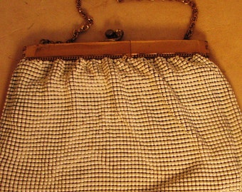 Whiting and Davis Purse in White Metal Mesh and Gold Tone Chain