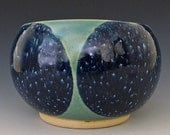 Medium Vase. Light Jade Green, Dark Cobalt, Indigo on White Stoneware.  Seafoam
