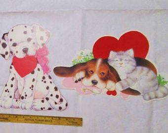 Vintage Valentines Decorations Flocked Puppy, 2 Posters Eureka Die Cut Bulletin Board Display Wall Hangings Paper Ephemera Lot Puppy Kitten