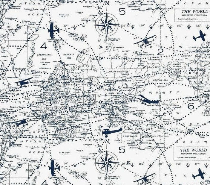 Airplane map fabric 2 6 yd nautical navy white air traffic ww1 for Airplane print cotton fabric