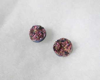 Pink and Blue Faux Druzy 12 mm Earrings