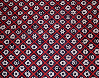Vintage cotton fabric - red white blue floral 1yd 31 inches