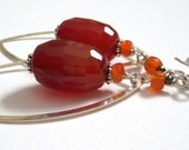 Vitamin C, carnelian and pyrite earrings, sterling silver