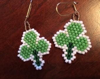 Shamrock Earrings, seed beads