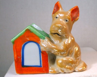 Terrier Scottie Dog Toothpick Holder or For Stick Matches, Pooch on Doghouse, 1950s Japan, Colorful Ceramic Adorable Doggie for your Desk