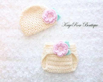 Newborn to 3 Month Old Baby Girl Crochet Flower Hat and Diaper Cover Set Cream Pink and Aqua