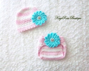 Newborn Baby Girl Crochet Flower Hat and Diaper Cover Set Blue Pink and White Stripes