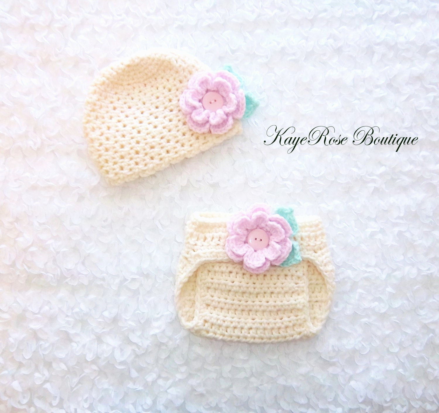 Crochet Hat Pattern For 8 Month Old : Newborn to 3 Month Old Baby Girl Crochet Flower Hat and Diaper