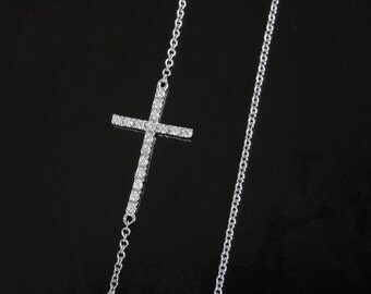 Kelly Diamond Sideways Cross Necklace -  14kt White Gold - Set Off Center