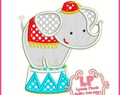 CIRCUS ELEPHANT Applique 4x4 5x7 6x10  Machine Embroidery Design Instant