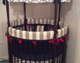 Baby Boy Round Crib Bedding Set Yellow Red Navy and Gray