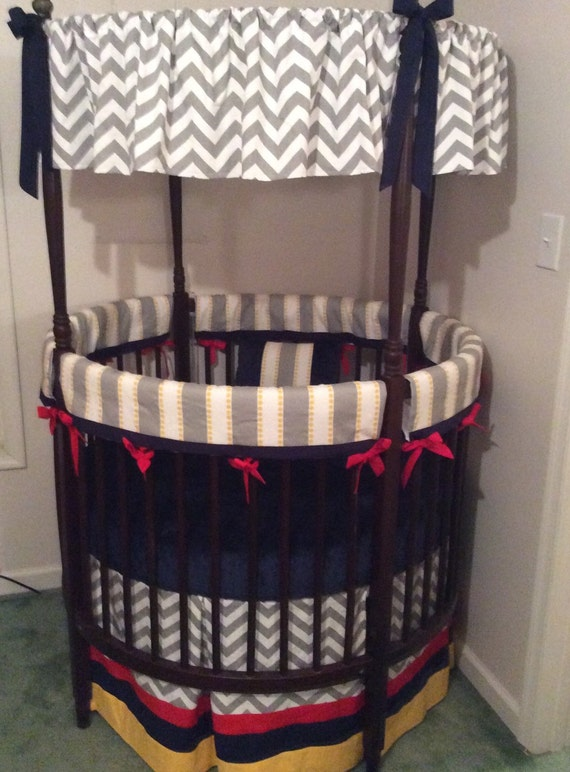 SALE Round Crib Bedding Set Yellow Red Navy by butterbeansboutique