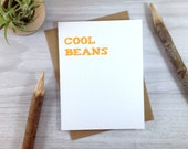 Cool Beans Congratulations Card, Orange Celebration Card