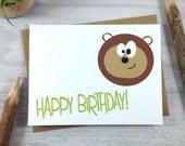 Birthday Card, Happy Birthday Greeting Card, Children's Birthday Card, Wild Animal Card, Bear Card - Single
