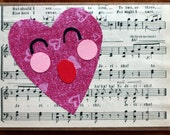 You make my heart sing, music scale and paper heart, love, Valentines Day card, anniversary, pink, kraft, cut paper, face