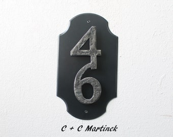 Address Plate with two numbers, House number, metal house number, black address plate, condo house address