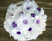 White And Purple Button Wedding Flower Bouquet