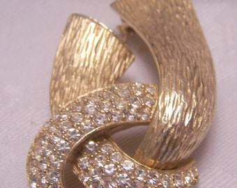 Rhinestone Knot brooch large and gorgeous Gold pave rhinstones textured jewelry classic