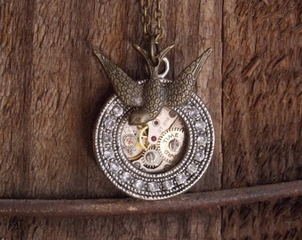 Steampunk Necklace Round Pendant with Crystals Brass Bird Clockworks Vintage Watch Movement